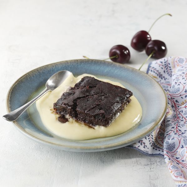 Chocolate & Cherry Brownie with Vanilla Cream Sauce