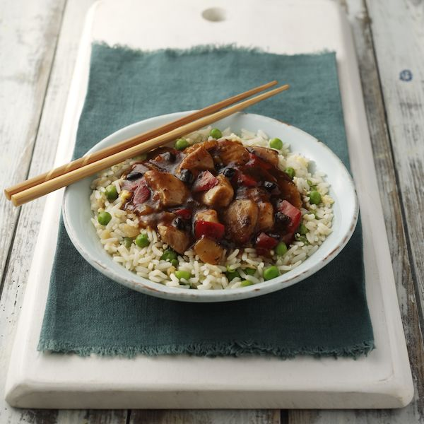 Chicken in Black Bean Sauce with Rice