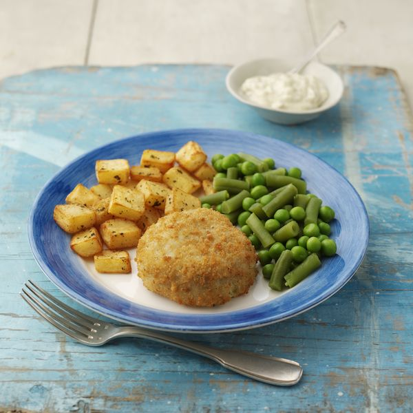 Fishcake with Minted Potatoes