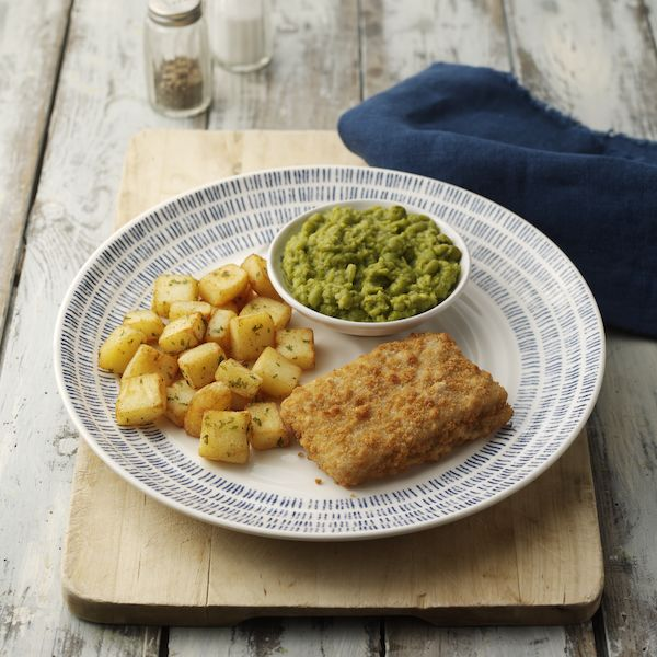 Breaded Cod with Minted Mushy Peas
