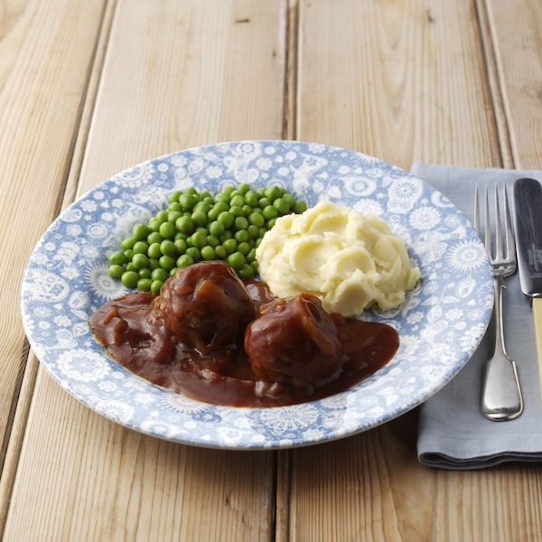 Faggots in Gravy with Mash & Peas