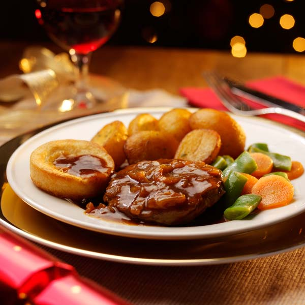 Beef with Roast Potatoes & Yorkshire Pudding