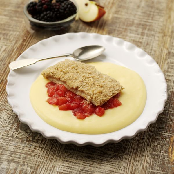 Reduced Sugar Apple and Blackberry Crumble & Custard